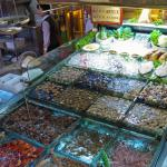 Seafood on display in Taipei Taiwan's Snake Alley night market